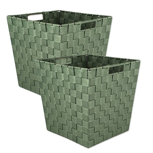 (DII Durable Trapezoid Woven Nylon Storage Basket for Organizing Your Home, Office, or Closets (Medium Bin - 11x11x11