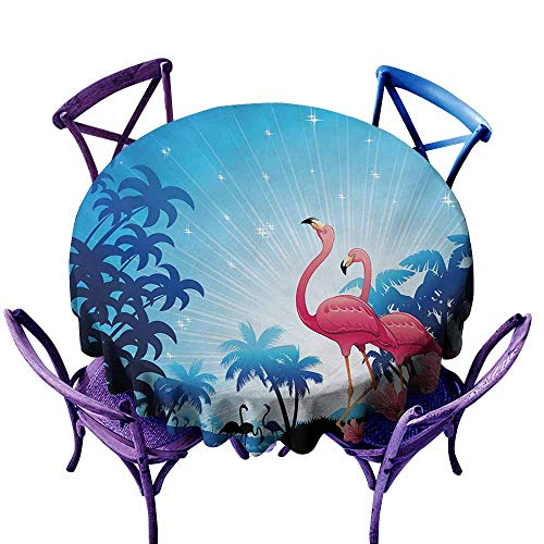 (Waterproof Tablecloth Tropical Nature Scene Exotic Flowers and Palm Tree Silhouettes and Flamingos Wildlife Pink Blue White Soft and Smooth Surface D39 )