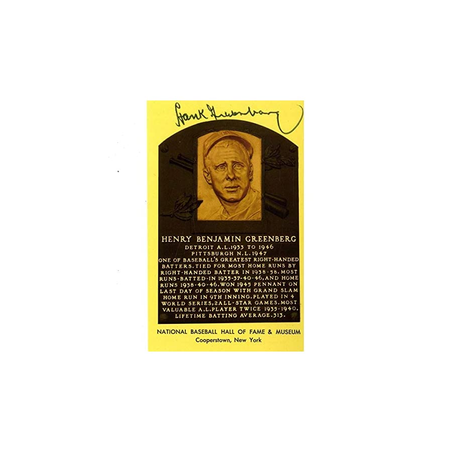 Hank Greenberg Autographed Signed Hall Of Fame Plaque Postcard JSA Auth