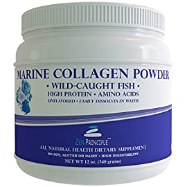 LARGE-12-Oz-Marine-Collagen-Peptide-Powder-Wild-Caught-Fish-Non-GMO-Supports-Healthy-Skin-Hair-Joints-and-Bones-Hydrolyzed-Type-1-3-Protein-Amino-Acids-Unflavored-Easy-to-Mix-FREE-scoop