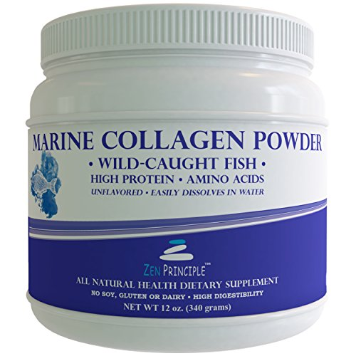 LARGE 12 oz Marine Collagen Peptides Powder. Wild-Caught Fish, Non-GMO. Supports Healthy Skin, Hair, Joints and Bones. Hydrolyzed Type 1 & 3 Protein. Amino Acids, Unflavored, Easy to Mix. FREE scoop! (Scoop Mix 1)