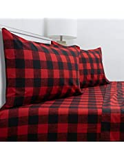 Sweet Home Collection 1800 Thread Count Soft Egyptian Quality Brushed Microfiber Hypoallergenic Luxury Bedding Set with Flat, Fitted Sheet, 2 Pillow Cases, Queen, Buffalo Check Burgundy