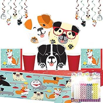 Table Cover + Dog-Theme Birthday Party Bundle: Serves 16 Plates Napkins