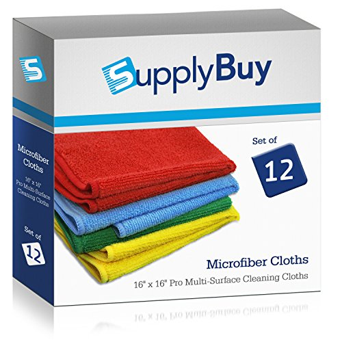 SupplyBuy Pro Multi-Surface Microfiber Towels | All-Purpose Cleaning Cloths | Pack of 12 - 16x16 (16