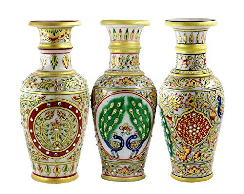 Set Of 3 Pcs Marble Vase Gold Embossed Meenakari Kundan Work Gift for Any Occasion Gift -By Style Souk (13 Nights Of Halloween 2017 Codes)