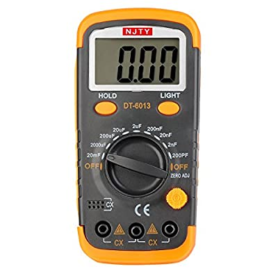 ELIKE DT6013 Capacitance Meter / Capacitor Tester 0.1pF to 20mF with Data Hold and Back Light Function/English Manual