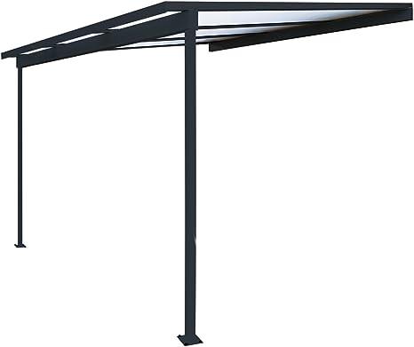 Pérgola de aluminio para fijar al techo, adosada, de policarbonato (10 mm) con canaleta, color gris, color Gris ral 7016, tamaño 3000 x 3000 mm