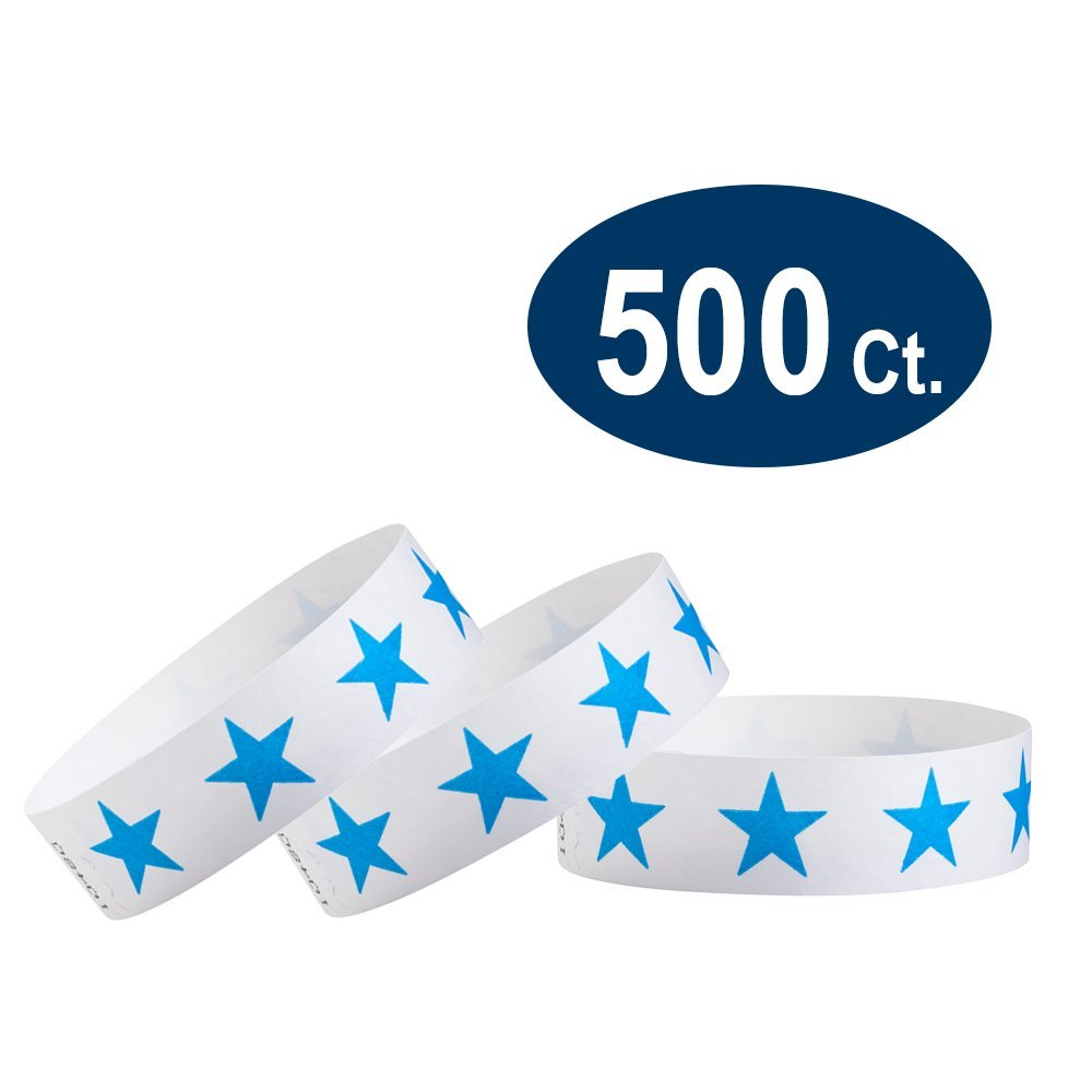 WristCo Blue Stars 3/4'' Tyvek Wristbands - 500 Pack Paper Wristbands For Events