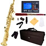 Mendini by Cecilio MSS-L+92D Gold Lacquer Straight B Flat Soprano Saxophone with Tuner, Case, Mouthpiece, 10 Reeds and More