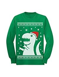 Ugly Christmas Sweater Big Trex Santa - Children Funny Long sleeve kids T-Shirt