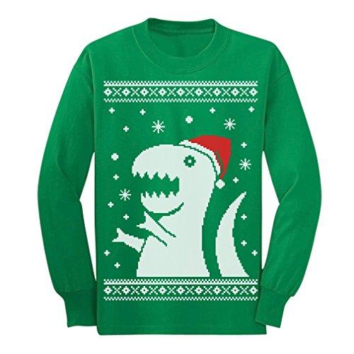 Tstars Big Trex Santa Ugly Christmas Sweater - Children Funny Long Sleeve Kids T-Shirt Large Green
