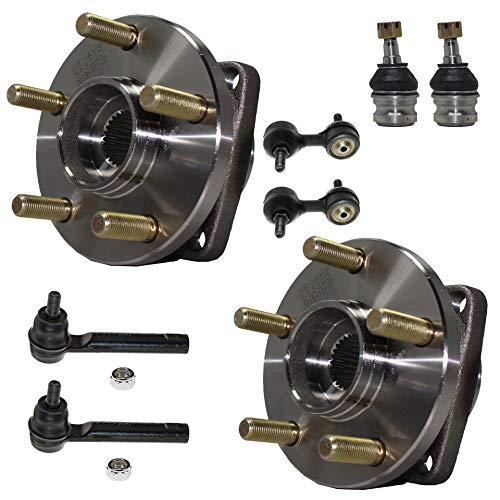 Detroit Axle - 8PC Front Wheel Bearing & Hub Assembly w/Lower Ball Joints, Sway Bars and Outer Tie Rods for 2009-13 Subaru Forester - [2008-14 Impreza WRX Sedan] - 2005-09 ()