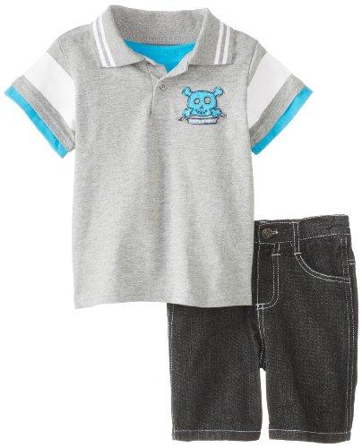 Little Rebels Baby Boys  2 Piece Knit Shirt And Woven Short, Grey, 12 Months