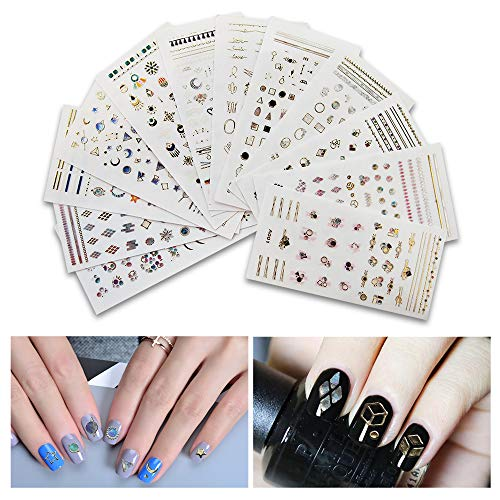 Fanme 12 Sheets Nail Jewels Art Stickers Decals 3D Self-adhesive Nail Tip Rhinestones Beads Gems Decoration Gold Silver Line DIY Adhesive Manicure Accessories (Gem Stickers)