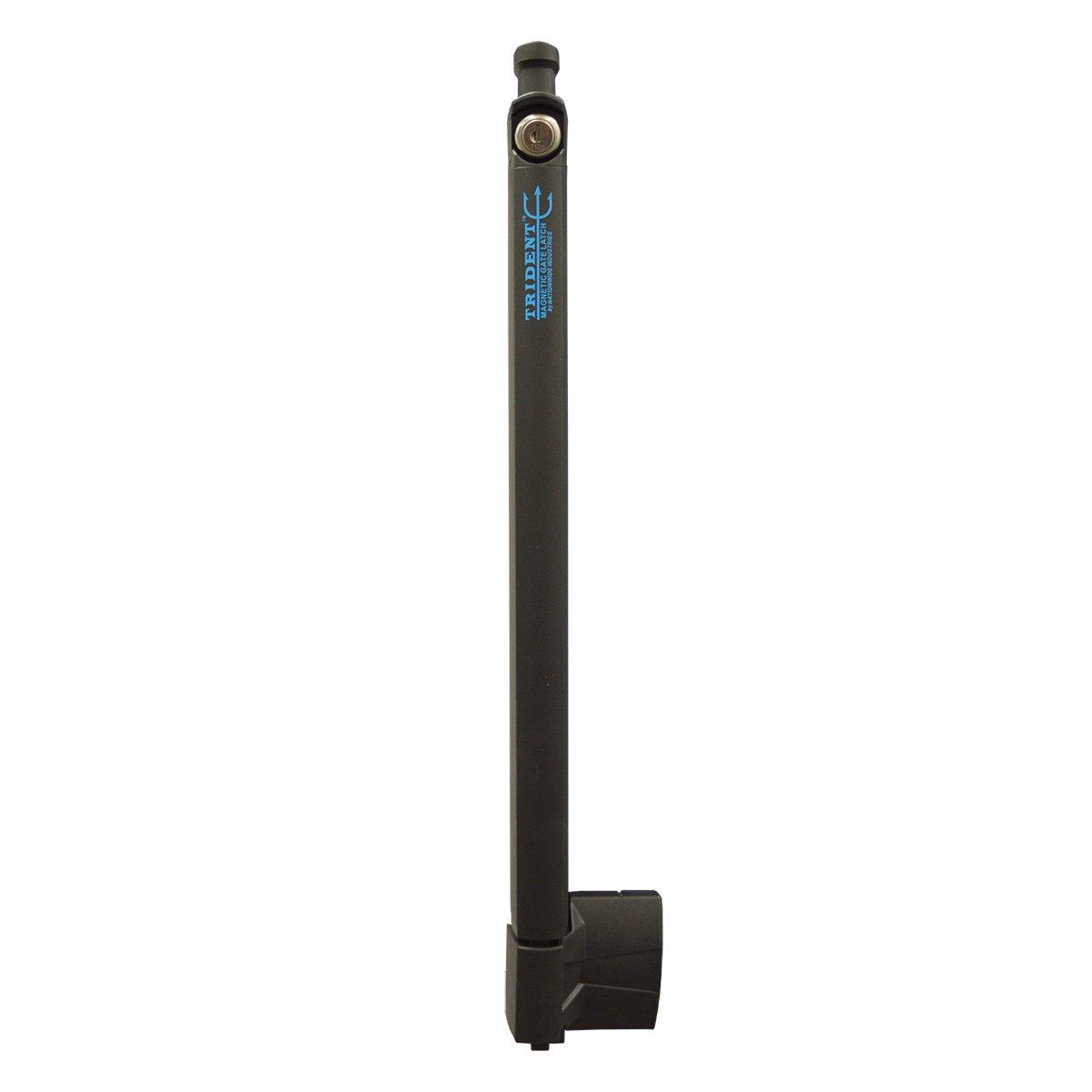 Trident 20 Inch Tall Black Magnetic Pool Child Safety Gate Latch   Keyed Alike   TRIDENT-20-BK-KA