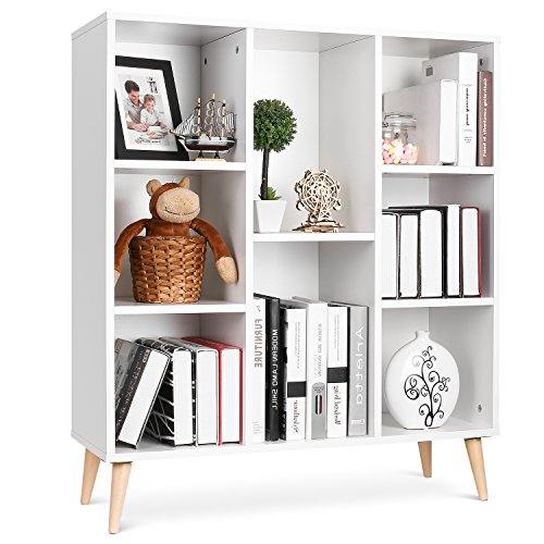 Homfa 8-Cube Storage Organizer Shelf Modern Bookcase DIY Display Shelving Irregular Cabinet for Better Homes and Gardens Office Furniture, White - White Display Cabinet
