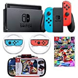 Nintendo Switch Mario Kart 8 Deluxe Bundle: Mario Kart 8 Deluxe, Nintendo Switch 32GB Console with Neon Red and Blue Joy-Con, Nintendo Joy-Con Wheel (Set of 2), Deluxe Traveler Case