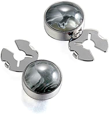 FORCEHOLD Natural Stone 17.5MM Button Cover Silver for Tuxedo Business Formal Shirts Substitute to Traditional Cuff Links for Men-One Pair