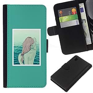 EJOY---La carpeta del tirón la caja de cuero de alta calidad de la PU Caso protector / Sony Xperia Z1 L39 / --Sirena Redhead Arte Mar