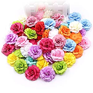 Flower Heads in Bulk Wholesale for Crafts Artificial Silk Mini Rose Fake Flower Head Wedding Home Decoration DIY Party Festival Decor Garland Scrapbook Gift Box Craft 30pcs/lot (Rose red) 4