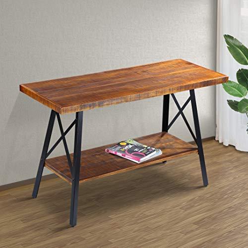 """Olee Sleep 48"""" Solid Wood & Dura Metal Legs Sofa Table, Rustic Brown"""