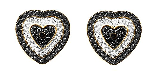 Black & White Natural Diamond Heart Shape Stud Earrings In 14K Yellow Gold Over Sterling Silver (0.02 Ct) (Diamond Heart 14k Earrings Gold)