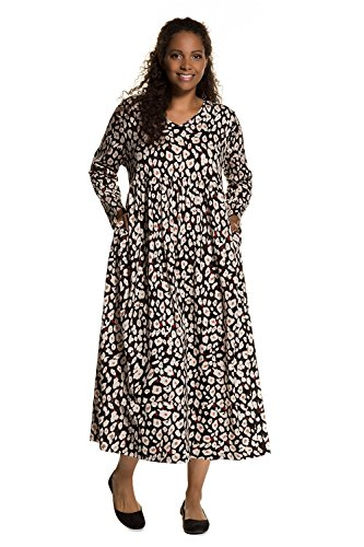 Ulla Popken Women's Plus Size Abstract Animal Print Dress Multi 20/22 713218 (Animal Print Empire Dress)