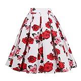 Molif Retro Print Flower Summer Skirts Womens High Waist Skirt Elegant A-Line Midi Women Skirt White Red Rose S