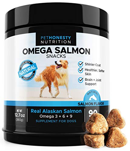 Salmon Oil for Dogs - Omega 3 Fish Oil For Dogs All-Natural Wild Alaskan Salmon Chews Omega 3 for Dogs for Healthy Skin & Coat, Cure Itchy Skin, Dog Allergies, Reduce Shedding - 90 Ct. Dog Fish Oil