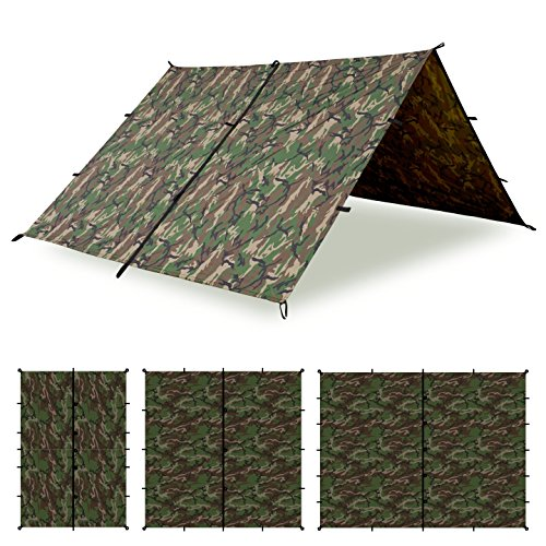 Aqua Quest Defender Tarp - 100% Waterproof Heavy Duty Nylon Bushcraft Survival Shelter - 10x7, 10x10, 13x10, 15x15 Camo or Olive Drab?