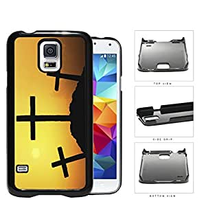 Three Crosses Silhouette And Sunset Hard Plastic Snap On Cell Phone Case Samsung Galaxy S5 SM-G900