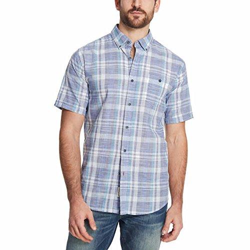 Short Sleeve Plaid Woven Shirt (Weatherproof Vintage Mens Short Sleeve Woven Chambray Shirt, Navy Plaid, X-Large)
