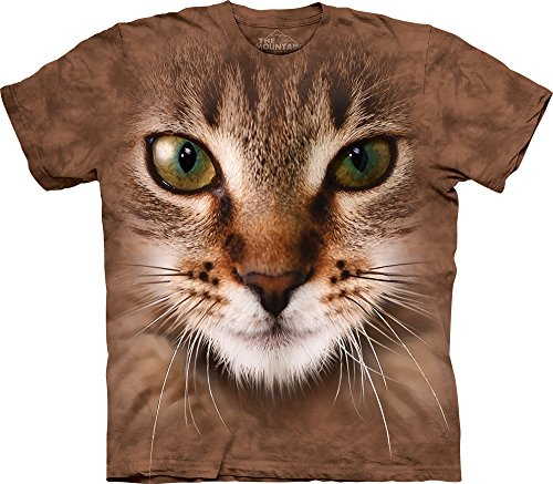 The Mountain Striped Cat Face T-Shirt, XX-Large, Brown Striped Cat Face