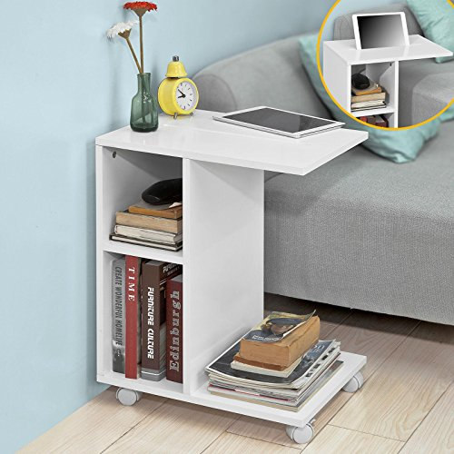 Sobuy Fbt48 W Sofa Side Table End Table Coffee Table On Wheels