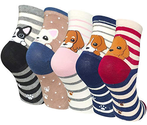 Chalier 5 Pairs Womens Winter Warm Funny Casual Cotton Crew Animal Socks