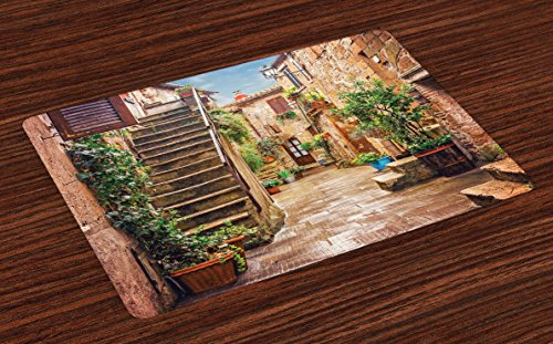 Ambesonne Italian Place Mats Set of 4, View of Old Mediterranean Street with Stone Rock Houses in Italian City Rural Print, Washable Fabric Placemats for Dining Room Kitchen Table Decor, Multicolor