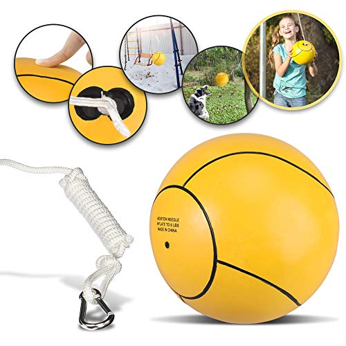 Mawelrate Tetherball with Rope - Upgrade Your Kids Playground - Perfect Toy for Kids and Dogs - Replaceable Rope Increases Lifetime - Portable Fun for the Park - Attach Ball to Any Pole or Tree - 1pc