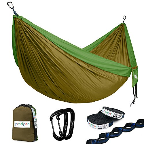 Prodigen Double Parachute Camping Hammock-Outdoor Portable Compact Backpacking Hammock for Hiking,Travel,Beach,Backyard-Best Two Person Lightweight Nylon Hammocks with Straps(Camel/Green)