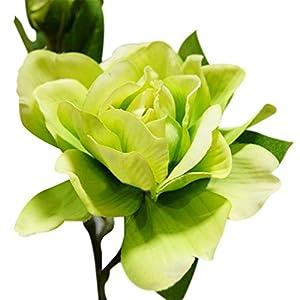 Move on 1Pc 3 Heads Silk Cloth Artificial Gardenia Flower Bouquet for Wedding Home Decor (Green ) 92