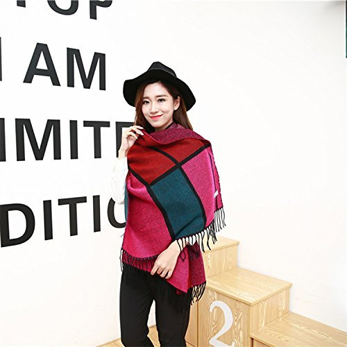 Womens Scarf Ladies Winter Autumn Warm Mixed color Cashmere Scarf Large Plaid Double Purpose Cappa Casual Fashion Wild for Women