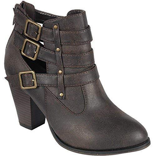 Forever Women's Buckle Strap Block Heel Ankle Booties, Black 10