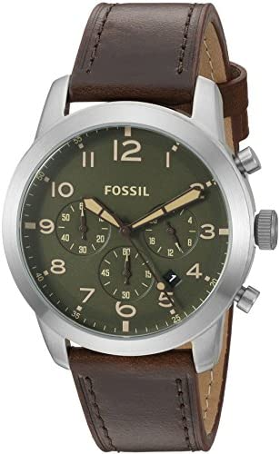 Fossil Men s FS5180 Pilot 54 Chronograph Dark Brown Leather Watch
