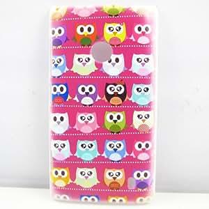for nokia lumia 520,Cute Cartoon Hot Pink Multiple Owl Bird Hard Patterned Case Cover Skin For Nokia Lumia 520