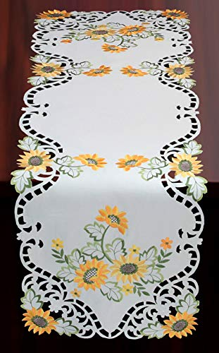 (Creative Linens Sunflower Table Runner 15x53 Embroidered Cutwork Dresser Scarf White)