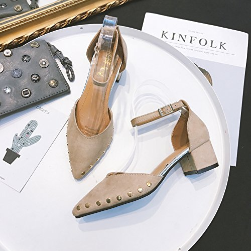un la Femeninos de Ante Zapatos Beige Gruesos de Qiqi Zapatos Remaches Hebilla Altos bajo de Zapatos de Xue Corte 36 Huecos con Tacón con Tacones Botón ztq7Hn