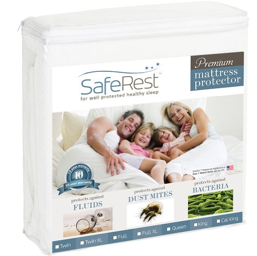 Cal King Size SafeRest Premium Hypoallergenic Waterproof Mattress Protector - Vinyl Free -
