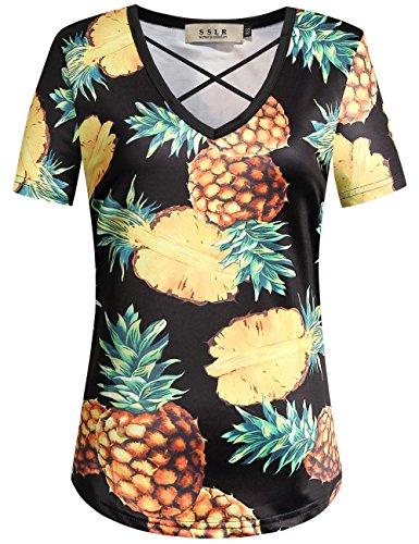 SSLR Womens Floral V Neck Casual Short Sleeve Hawaiian T Shirt Tops (Medium, Black 1)