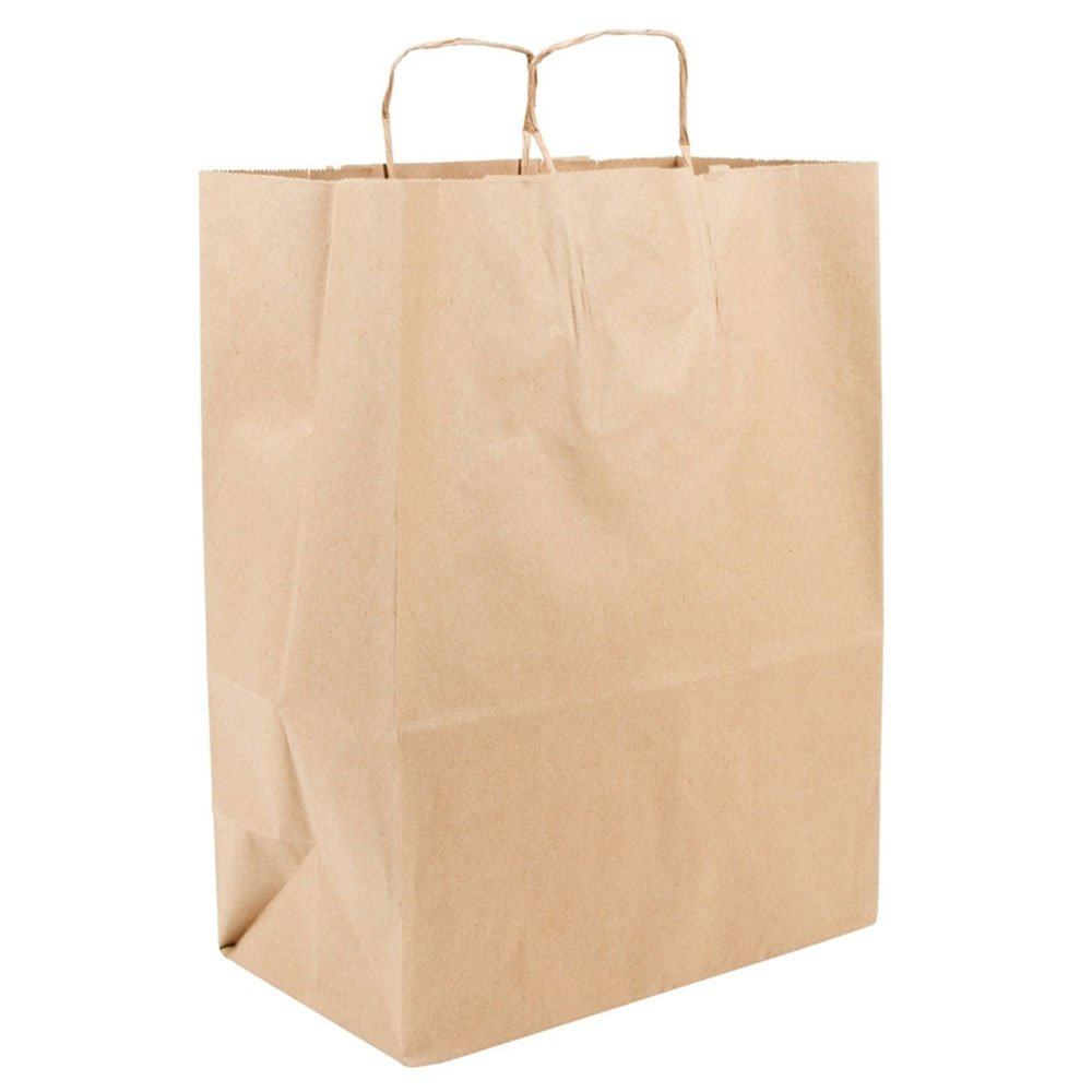 Recycled 13 x 7 x 17 Natural Brown Kraft Cub Paper Shopping Bags - Pack 250