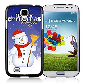 Samsung S4 Case,Christmas Snowman With Besom Black Silicone Phone Case Fit Samsung Galaxy S4 Case,Galaxy S4 I