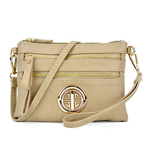 Multi-Zipper Soft Crossbody, Lightweight Women Clutch Vintage Messenger Bag Small Travel Shoulder Purse - Dove Messenger